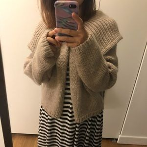 Hand knit thick chunky sweater jacket in wool